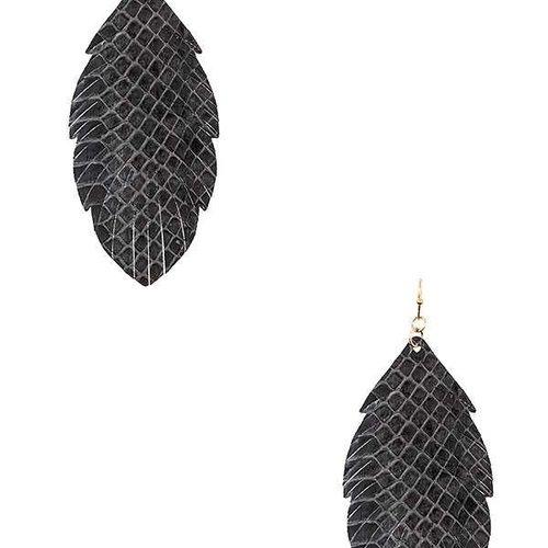 Cactus Creek Gray Fringe Leaf Earring