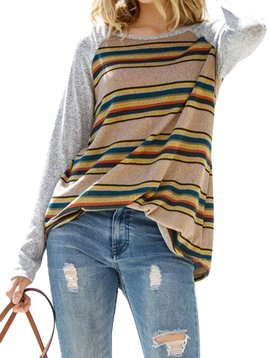 Striped Long Sleeve  Raglan Top