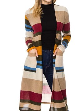 Cactus Creek Color Block Striped Cardigan
