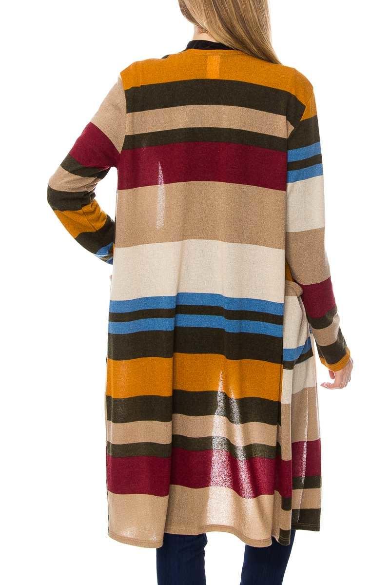 Cactus Creek Color Block Striped Cardigan