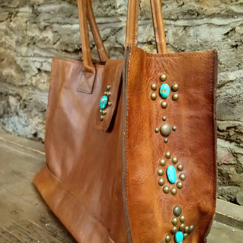 Cactus Creek Two Bar West Leather Tote Bag with Turquoise Accents