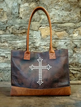 Two Bar West Cowhide + Leather Cross Studded Bag