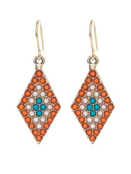 Orange Diamond Bead Earring