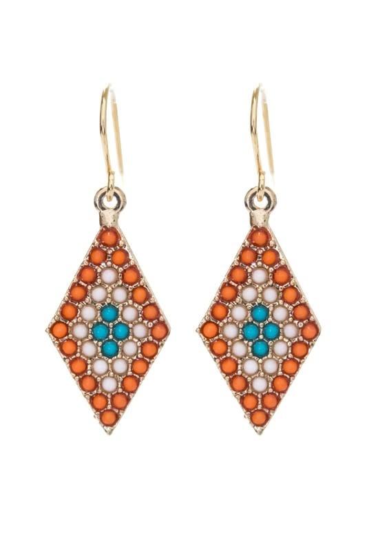 Orange Diamond Bead Earring