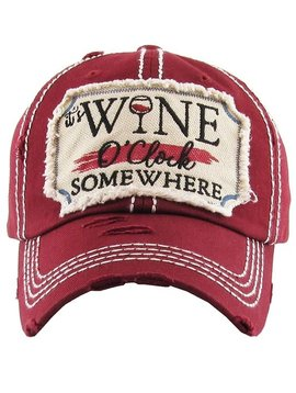 It's Wine O'clock Somewhere Cap Burgundy