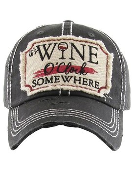 It's Wine O'Clock Somewhere Cap Black