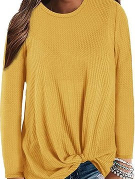 Long Sleeve Twist Top Mustard