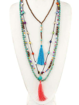 Blue + Coral Mix Bead Tassel Necklace