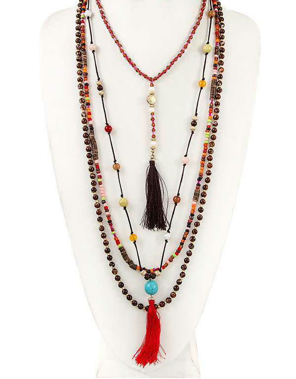 Brown + Red Mix Bead Tassel Necklace