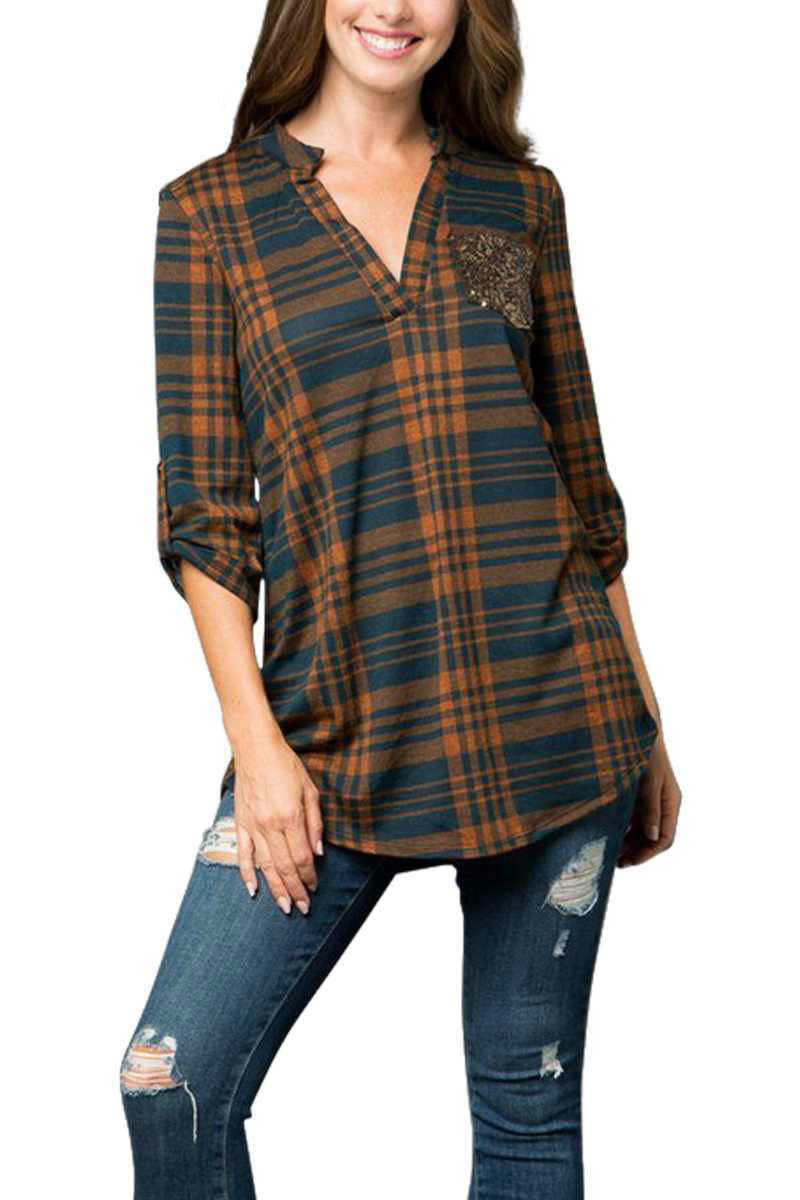 CURVY Teal Plaid V Neck Top