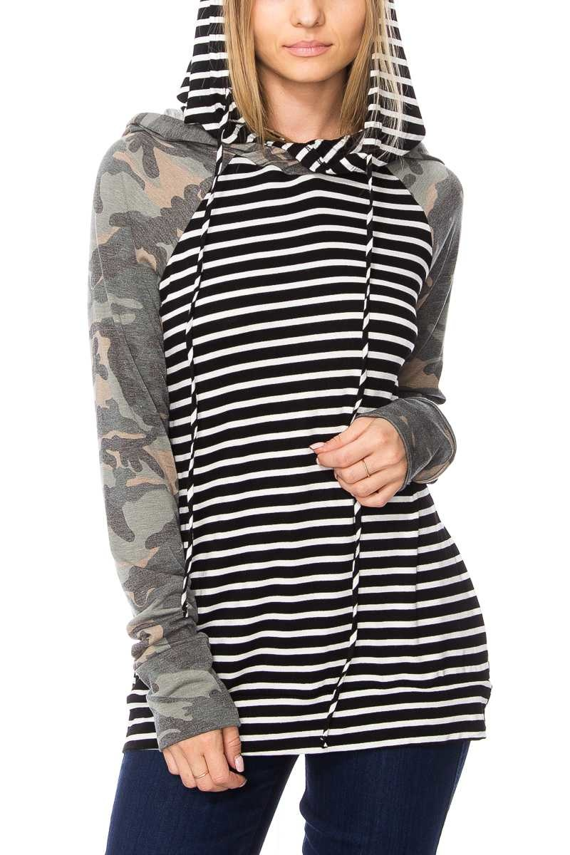 Stripe + Camo Hoodie