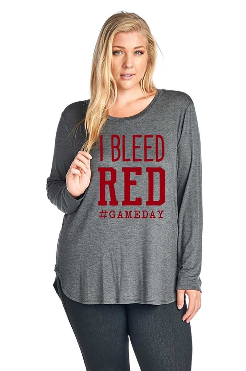 CURVY I Bleed Red Game Day Top