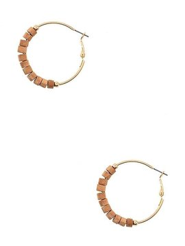 Wood Bead Hoop Earring