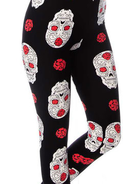 CURVY Skull + Flower Legging