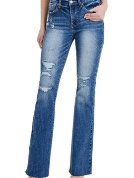 Distressed Denim Flare Jean