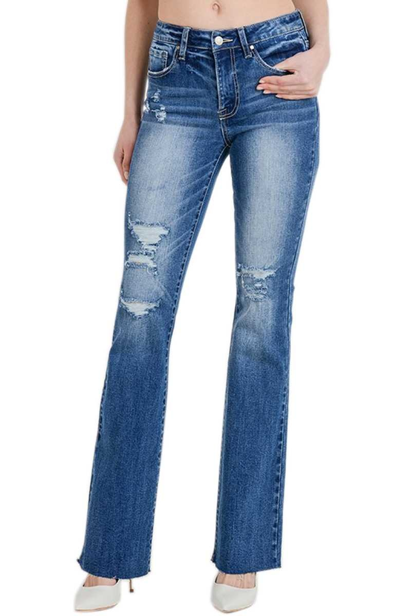 Distressed Denim Flare Jean