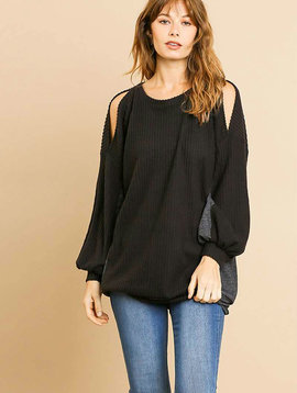 Waffle Knit Cold Shoulder Tunic