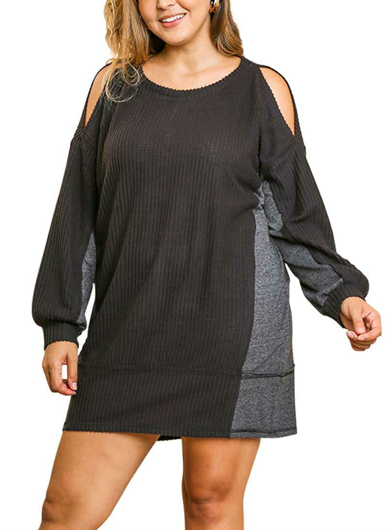 CURVY Waffle Knit Cold Shoulder Tunic