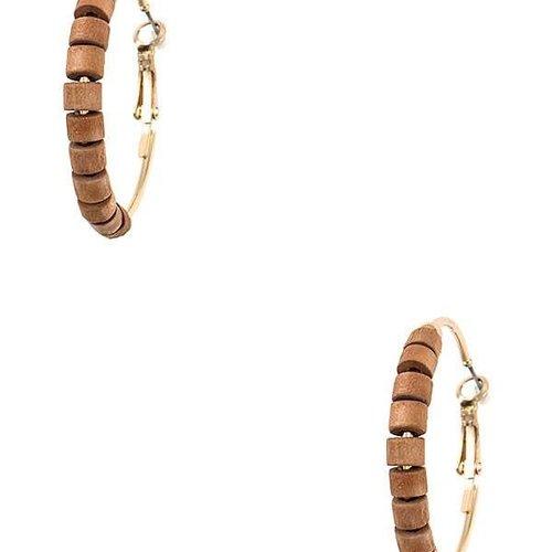 Wood Bead Hoop Earring