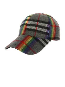 Gray Rainbow Plaid Cap