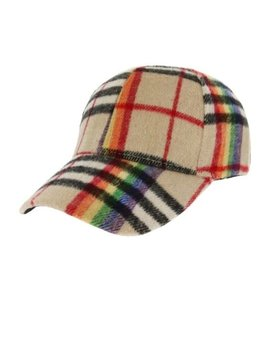 Khaki Rainbow Plaid Cap
