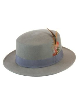 Gray Wool Felt Porkpie Hat