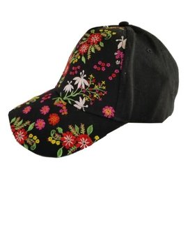 Floral Black Cap