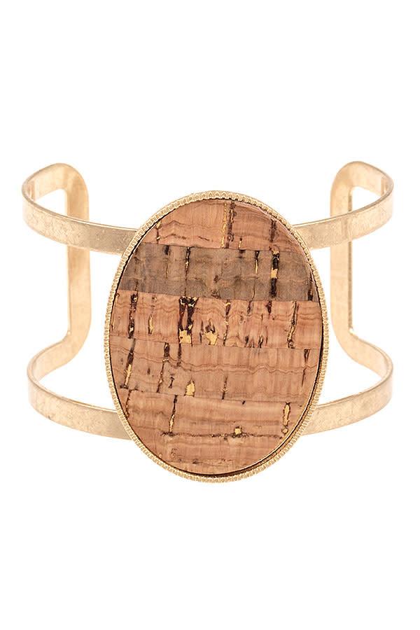 Wood Gold Cuff Bracelet