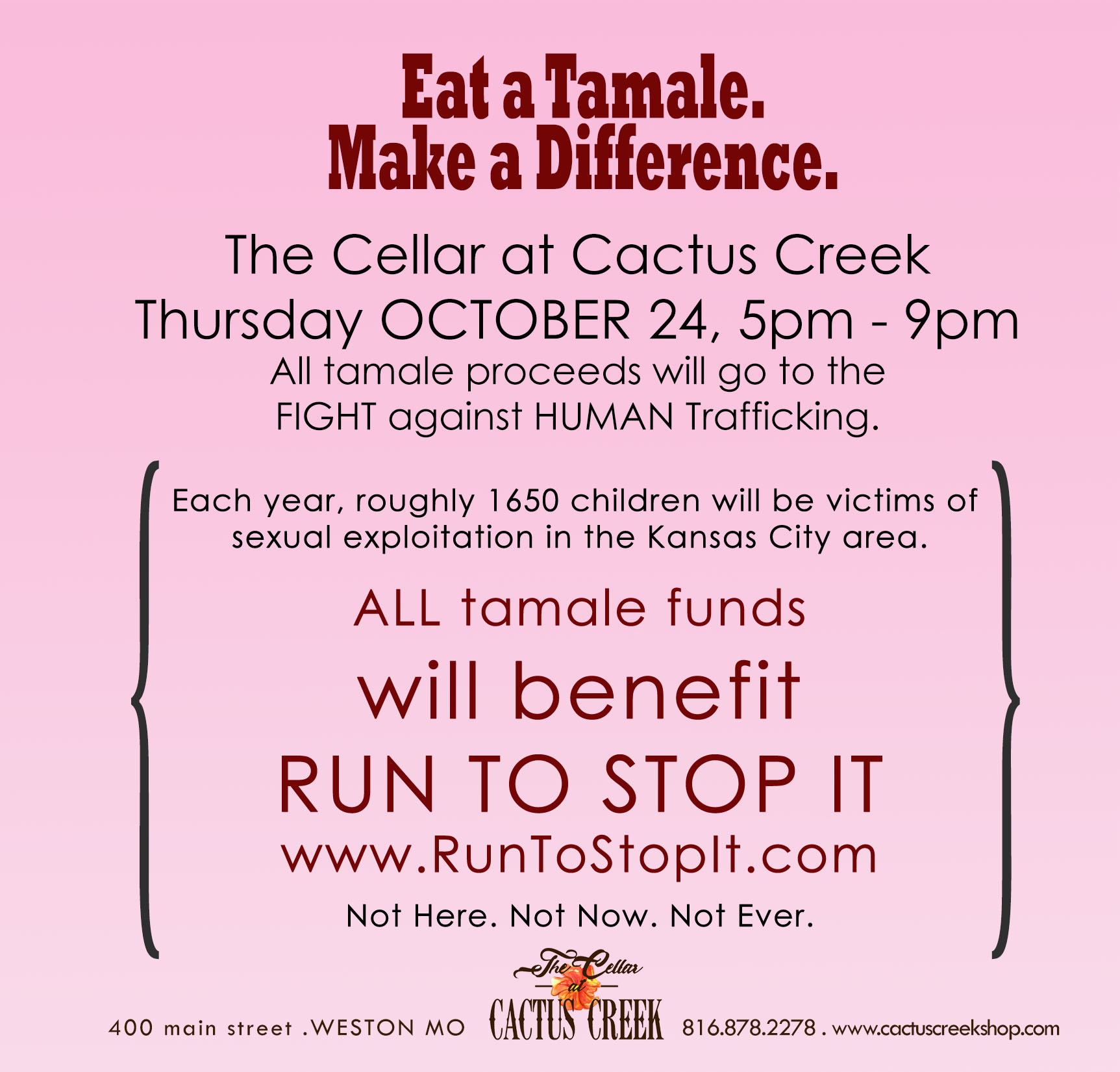 Tamale Party benefiting Run to Stop It - Oct 24, 2019