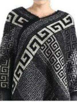 Aztec Poncho Black