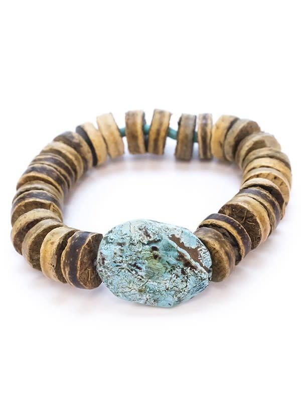 Maui Wood + Stone Stretch Bracelet