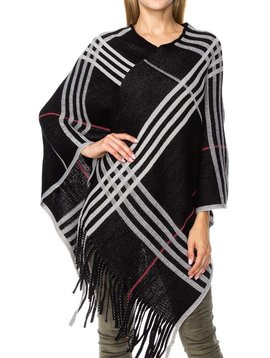 Black Plaid Fringe Poncho
