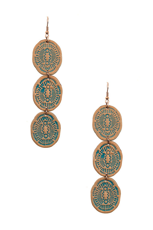 Patina Triple Leather Link Earring