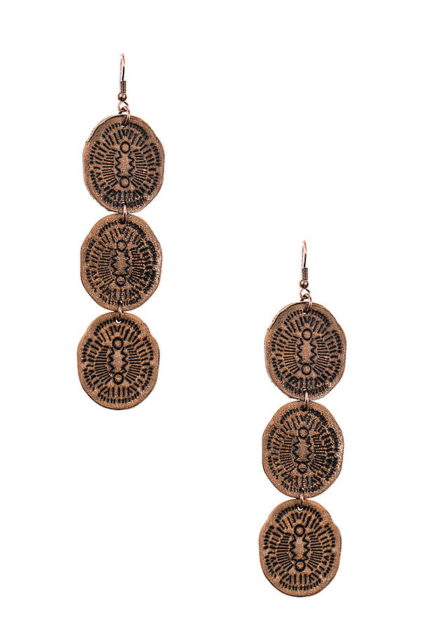 Triple Leather Link Earring