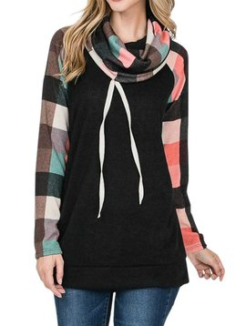 Plaid Raglan Cowl Sweatshirt