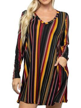 Multi Color Stripe V Neck Dress