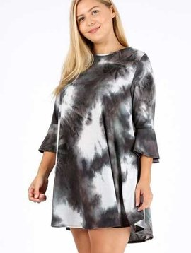 CURVY Tie Dye Flared Dress