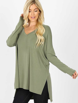 Olive Dolman Long Sleeve  V Neck Top