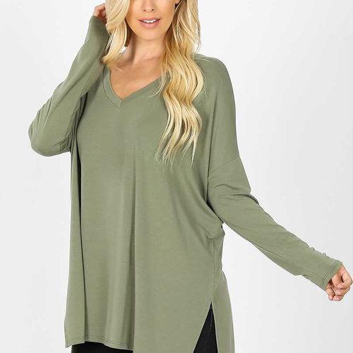 Olive Dolman Long Sleeve  V Neck Top