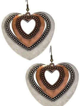 Silver & Copper Metal Heart Earring