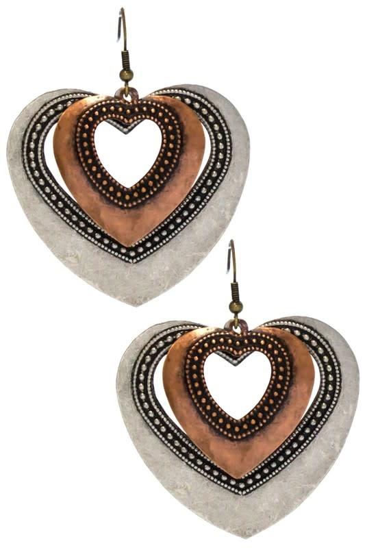Silver & Copper Metal Heart Earring