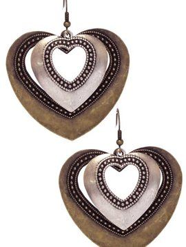 Gold & Silver Metal Heart Earring