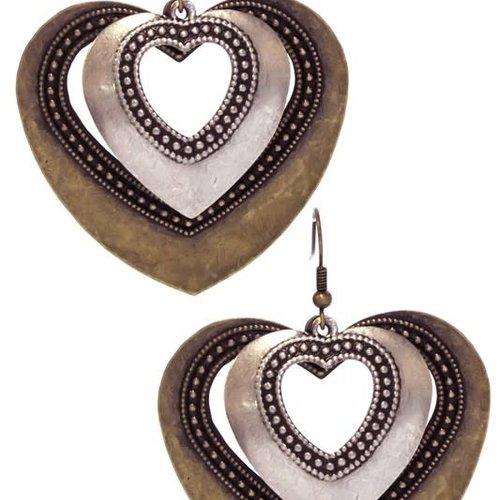 Gold & Silver Metal Heart Earring