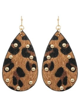 Leopard Teardrop Earring Brown