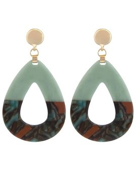 Mint Teardrop Tortoise Earring