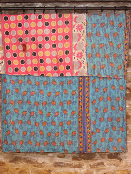Kantha Sari Throw #107