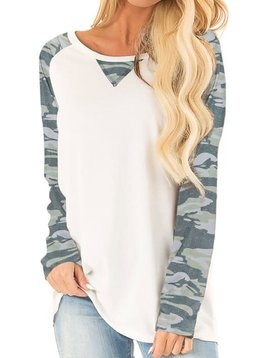 Camo Sleeve Raglan Top