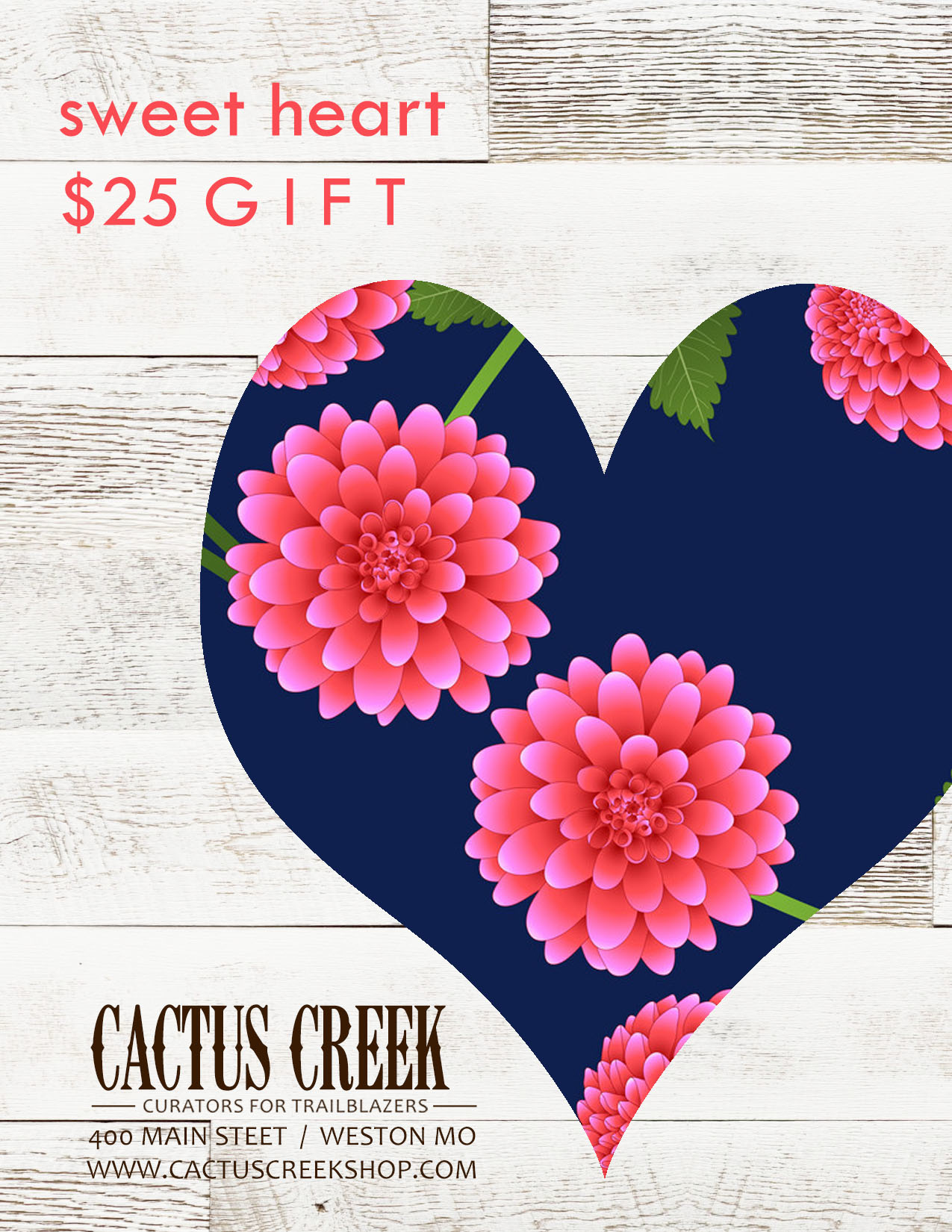 Cactus Creek $25 Sweet Heart Gift Card
