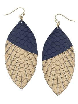 Navy Gold Dipped Teardrop Earring