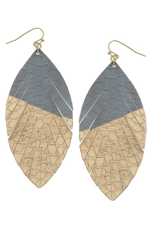 Gray Gold Dipped Teardrop Earring